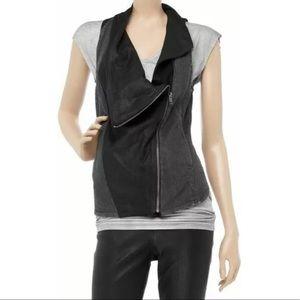 HELMUT LANG Asymmetrical Denim faux leather Vest M